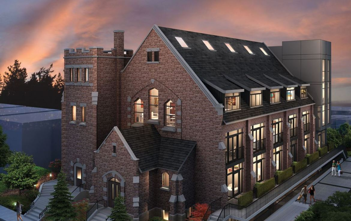 Rendering of Sanctuary Lofts exterior at night.