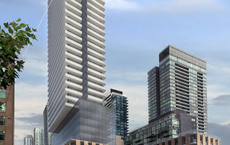 Exterior rendering of Spadina Adelaide Square Condos podium and tower.
