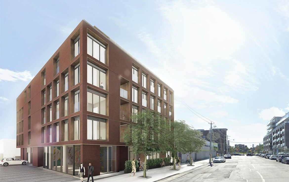 Exterior rendering of The Brickhouse on Gladstone Condos with streetscape.