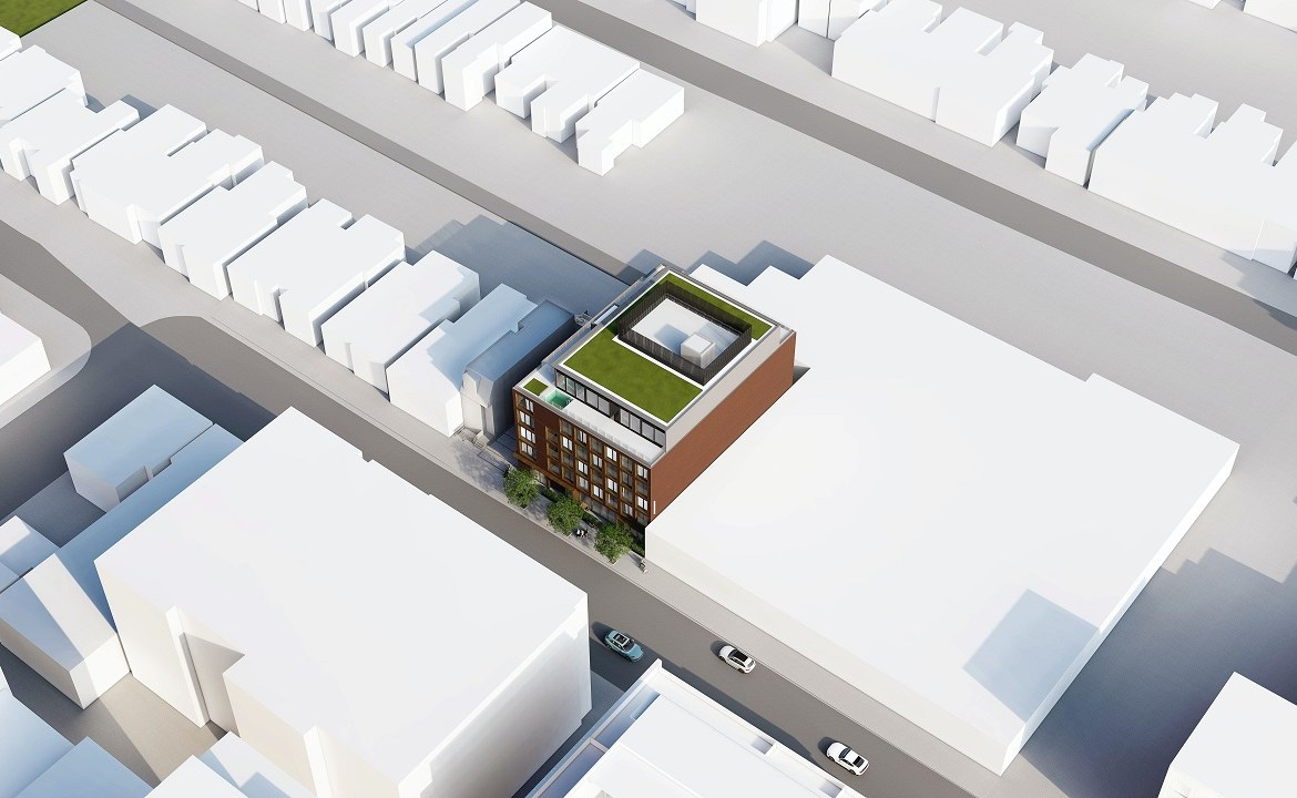 Exterior rendering of The Brickhouse on Gladstone Condos aerial sideview.