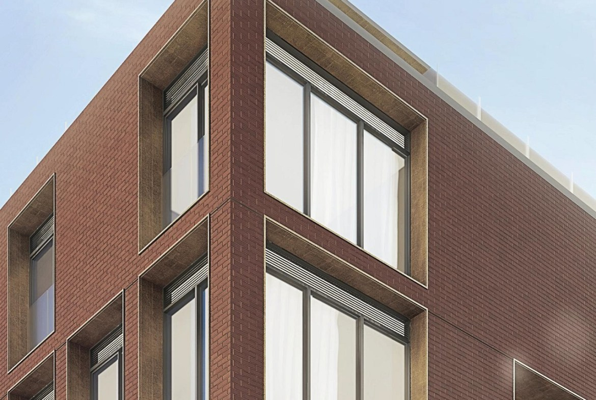 Exterior rendering of The Brickhouse on Gladstone Condos close up of building facade.