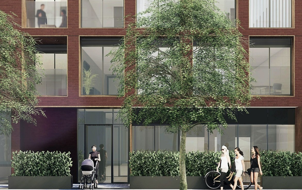 Exterior rendering of The Brickhouse on Gladstone Condos close up of building entrance.