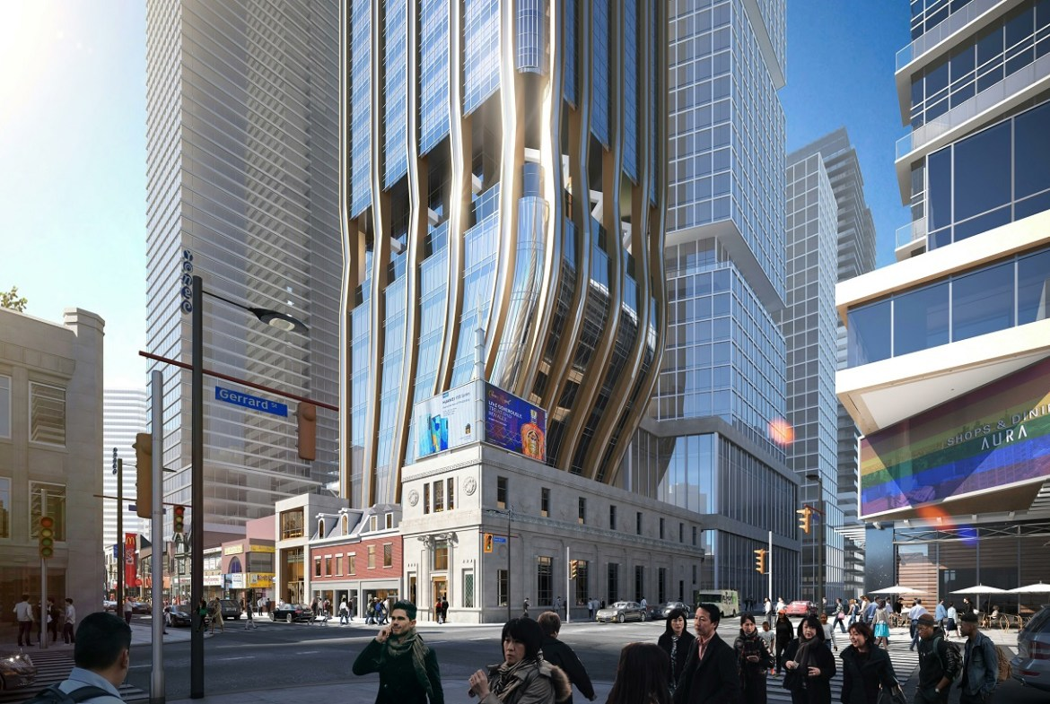 Rendering of 372 Yonge Condos exterior at base with street view.