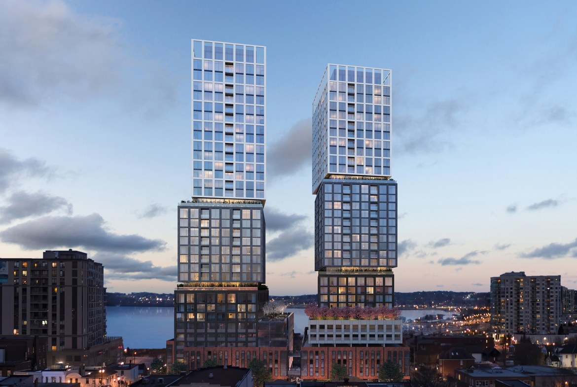 Rendering of Debut Waterfront Residences exterior at night.