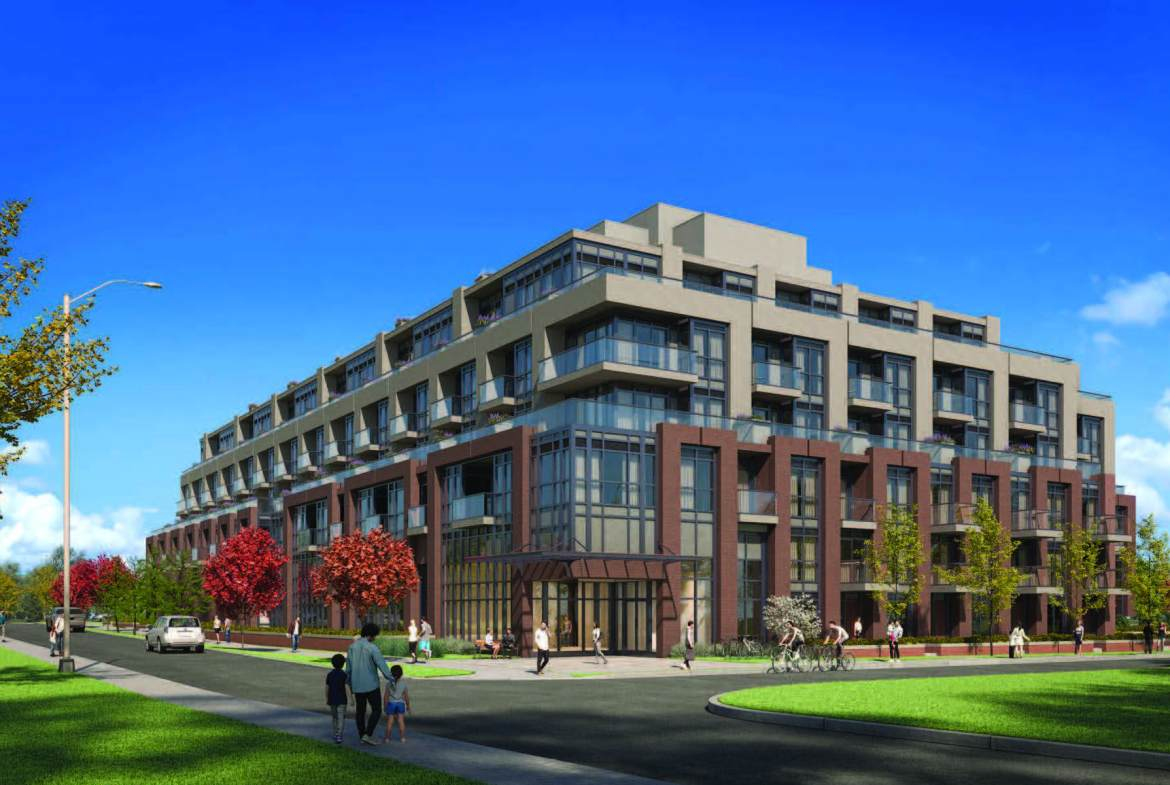 Exterior rendering of The Mill Landing condos in Georgetown.