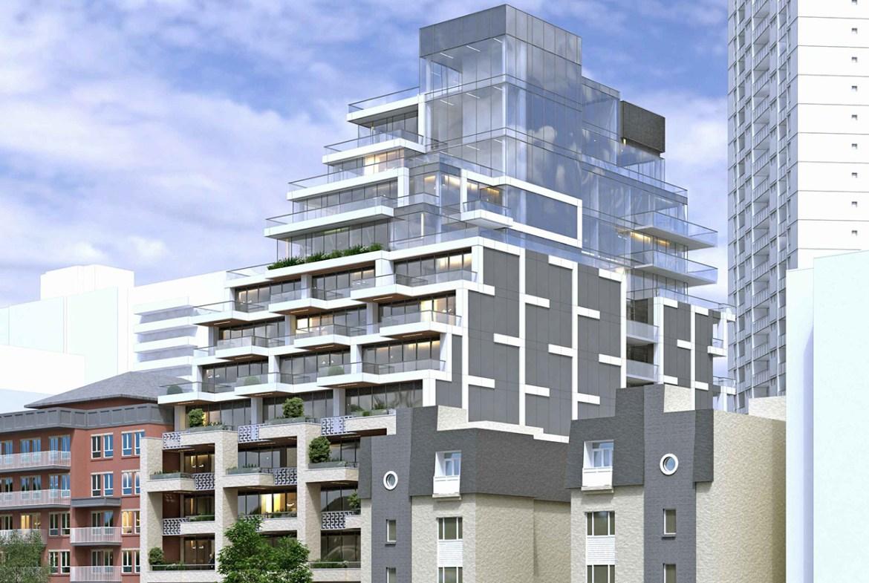 Exterior rendering of 276-290 Merton Condos building facing north-west.