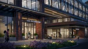 Rendering of Grand Central Mimico exterior entrance