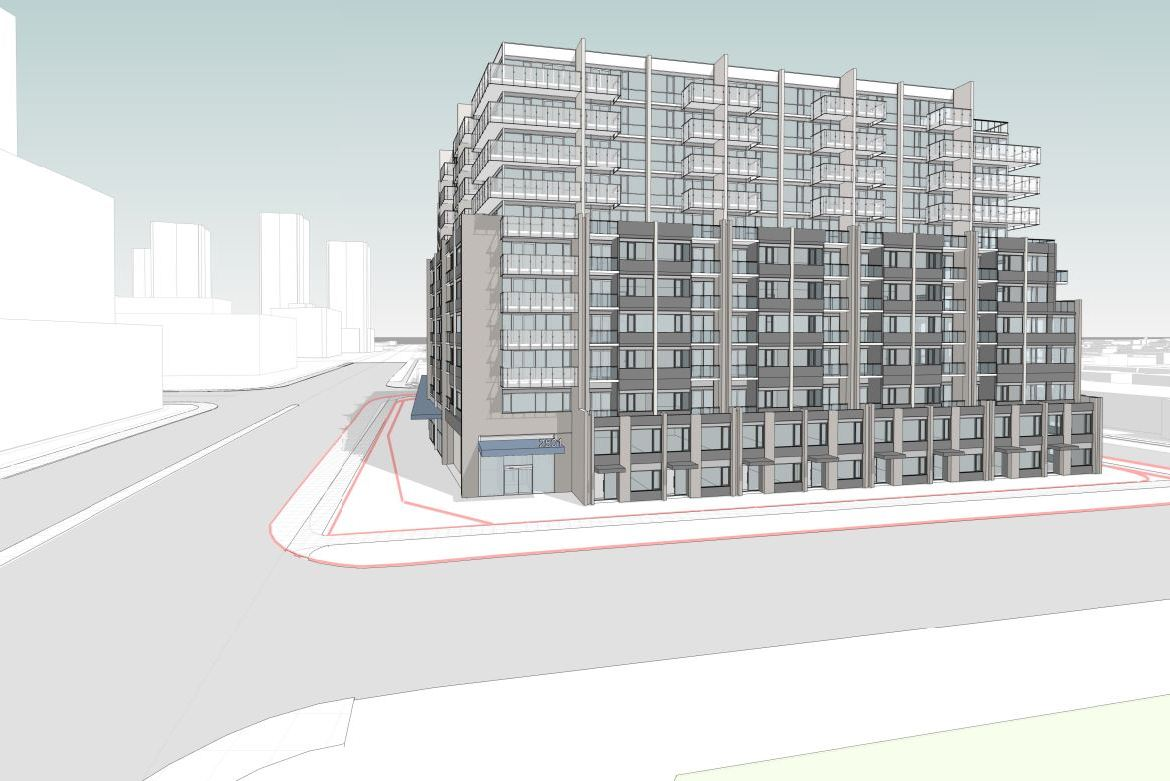 Rendering of 2499 Victoria Park Avenue Condos exterior corner view with streetscape.