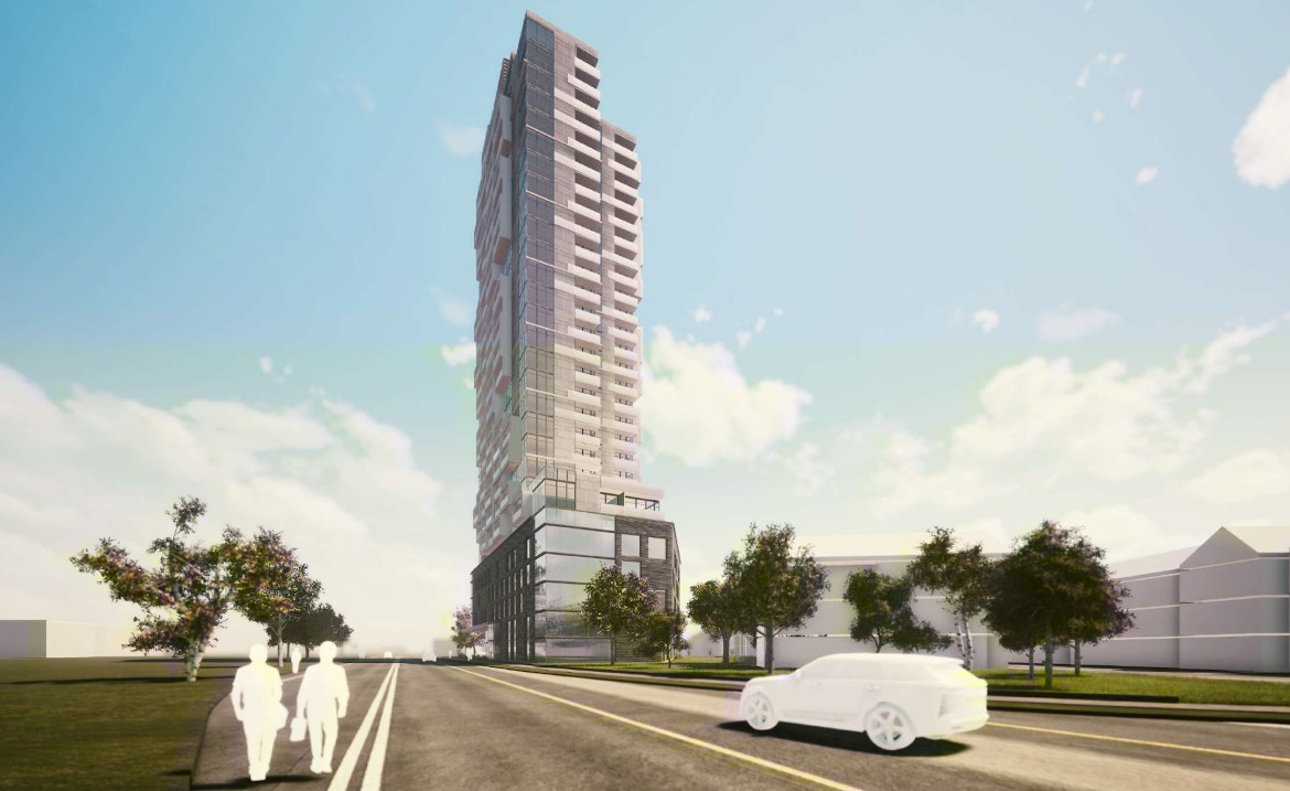 Exterior rendering of 290 Old Weston Road Condos side-view with cars driving and people walking.