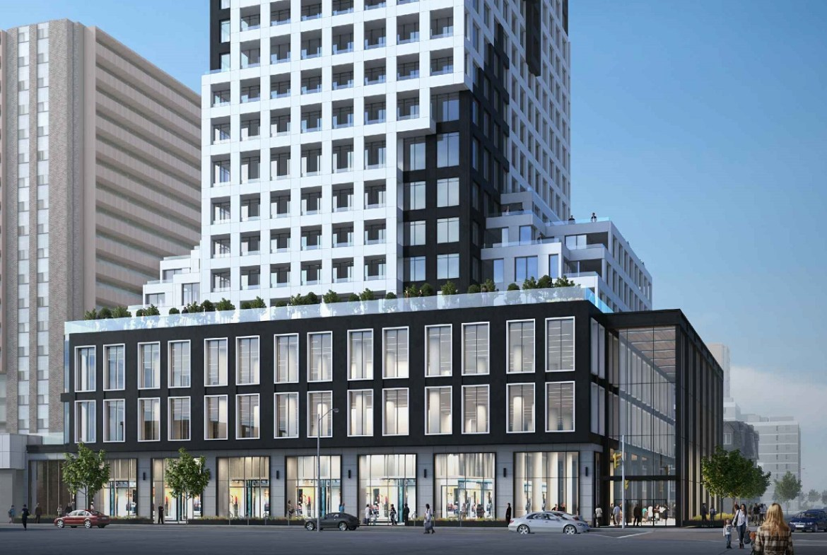 Exterior rendering of 334 Bloor Street West Condos lower half with streetscape.