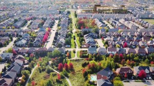 Rendering of NUVO Condos aerial view of the neighbourhood.