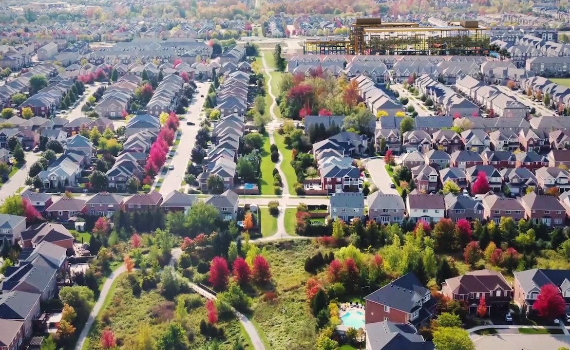 Rendering of NUVO Condos aerial view of the neighbourhood.