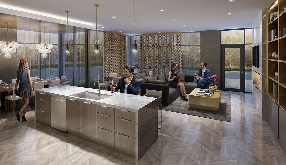 Rendering of Canvas on the Rouge Condos party room.