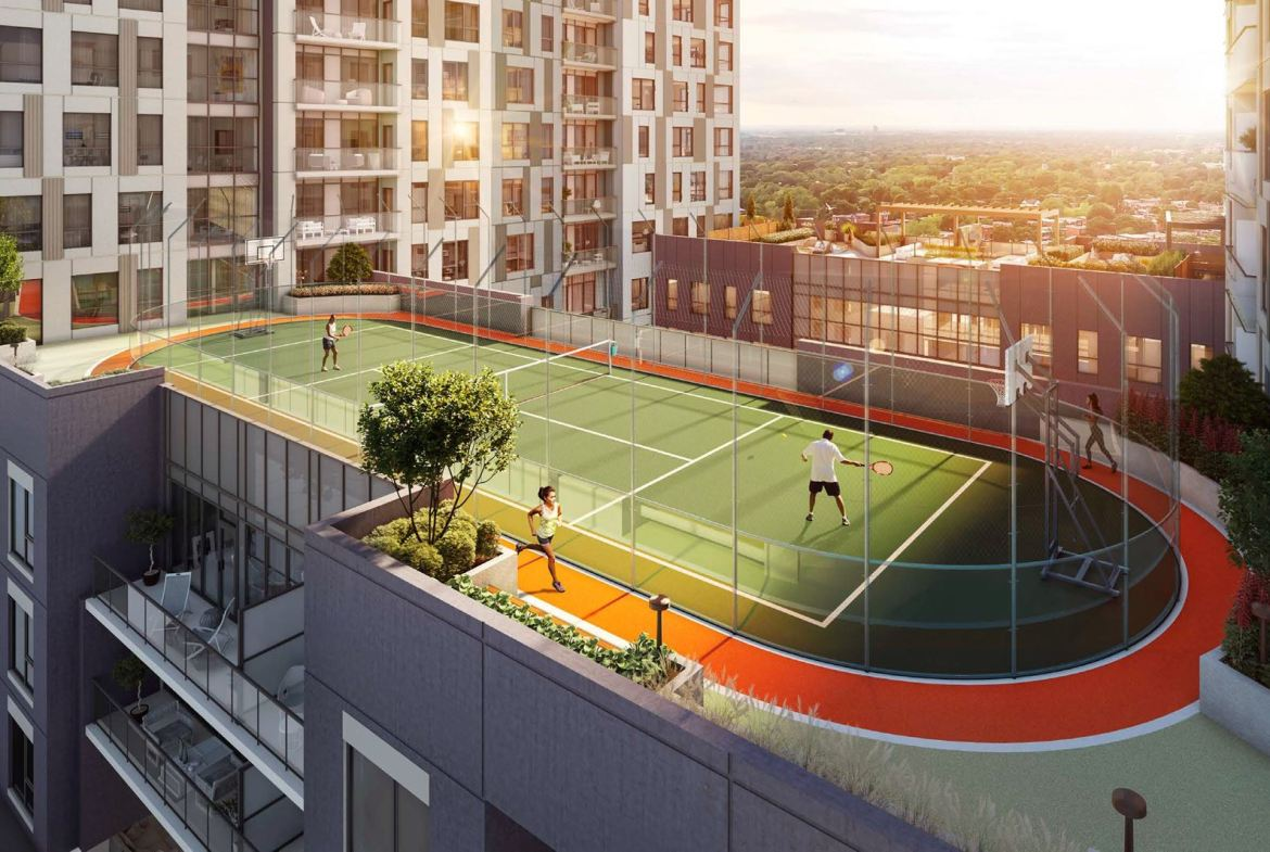Rendering of Elevate Condos outdoor sports court.