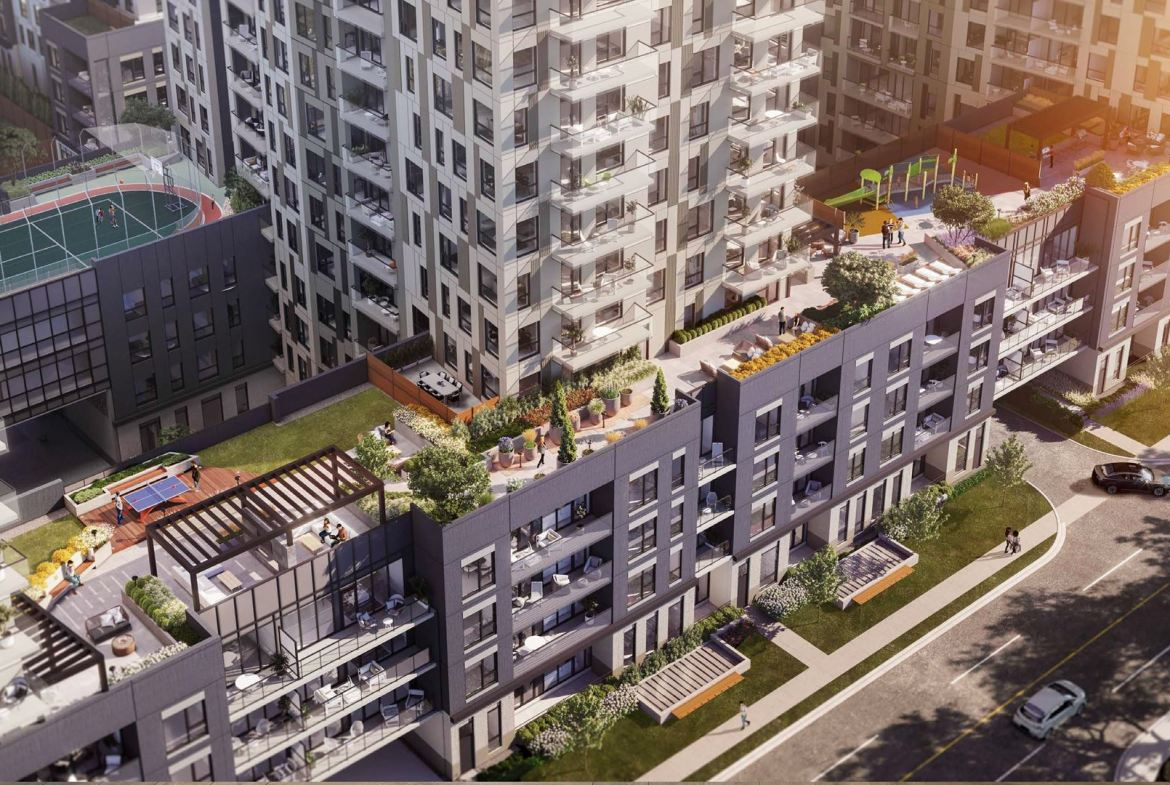 Rendering of Elevate Condos aerial of outdoor terrace area.