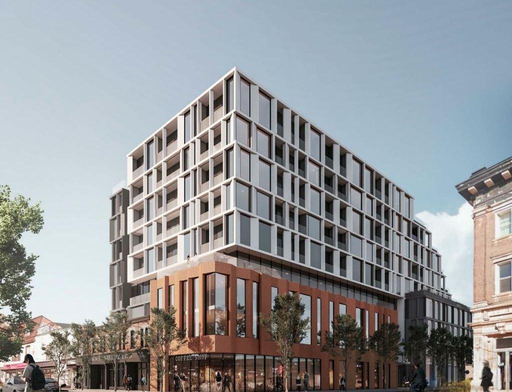 Exterior rendering of 1354 Queen Street West Condos in Toronto.
