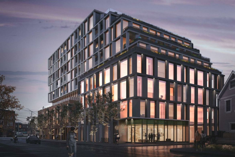 Exterior rendering of 1354 Queen Street West Condos in Toronto at night.