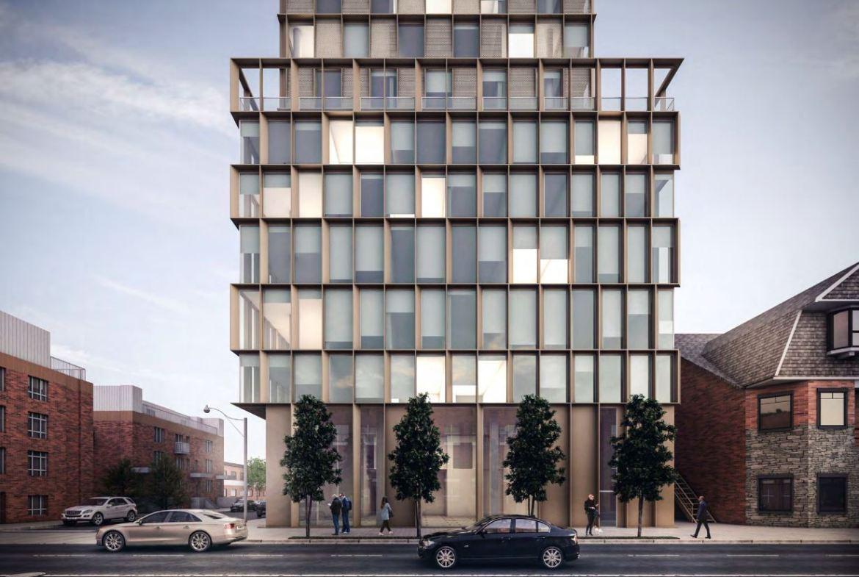 Exterior rendering of 1405 Bloor Street West Condos front-facing.