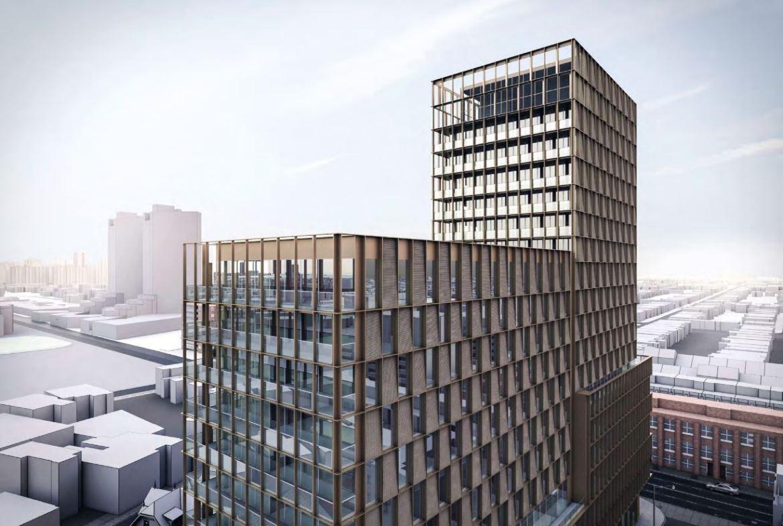 Exterior rendering of 1405 Bloor Street West Condos top section.