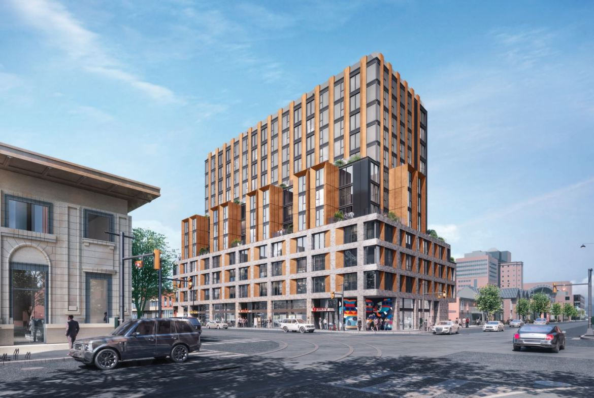 Exterior rendering of 419 College Street Condos in Toronto