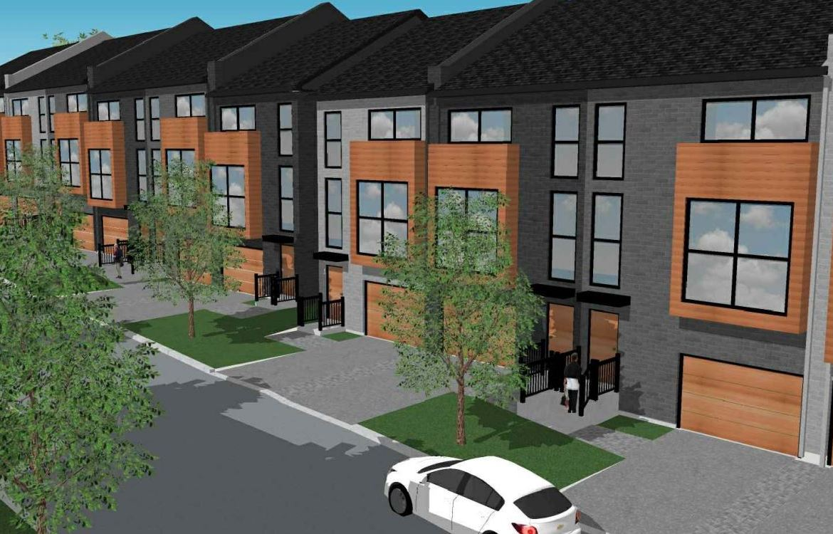 Exterior rendering of 448 Markham Road Towns with garages.