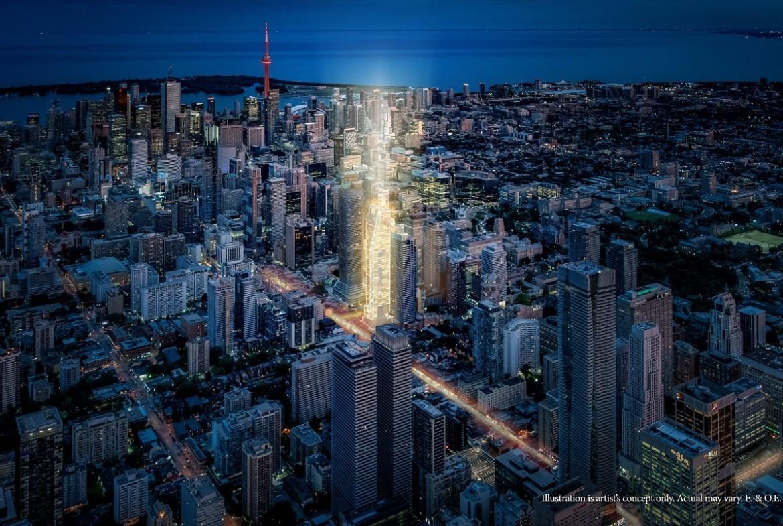 Aerial rendering of 8 Wellesley Residences in Toronto