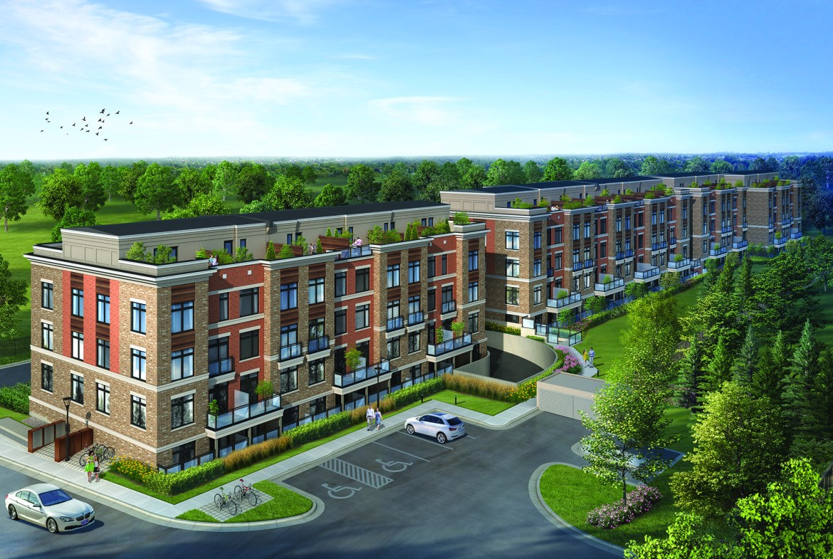 Exterior rendering angled-view of High Point Urban Towns in Richmond Hill.