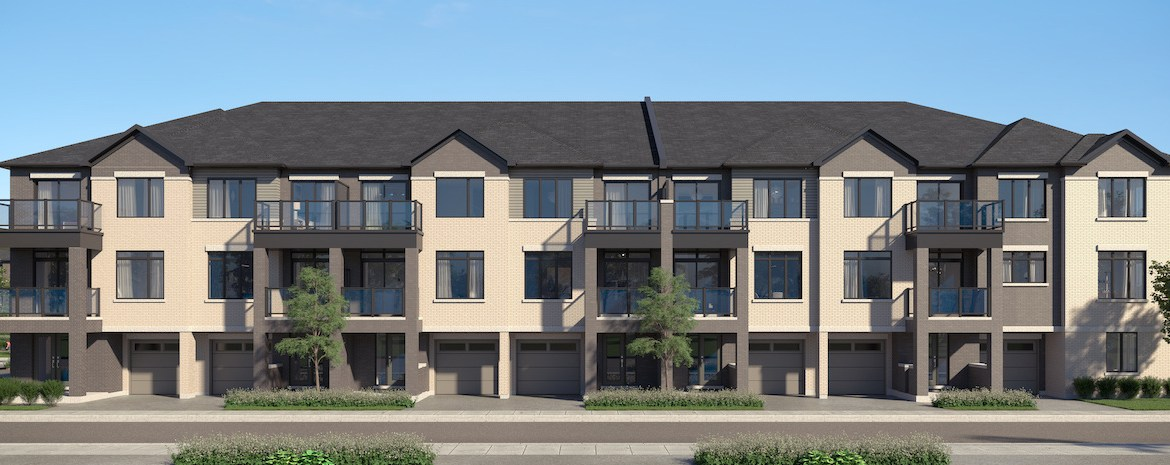 Rendering of Cachet ParQ Towns back-to-back elevation 2 exterior.