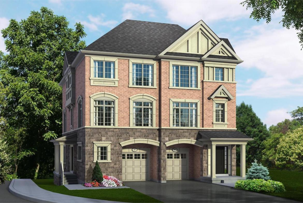 Exterior rendering of Hilltop Semi-detached home at Old Harwood in Ajax angled side-view.