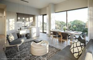 Rendering of Perch Condos suite living and dining room dark