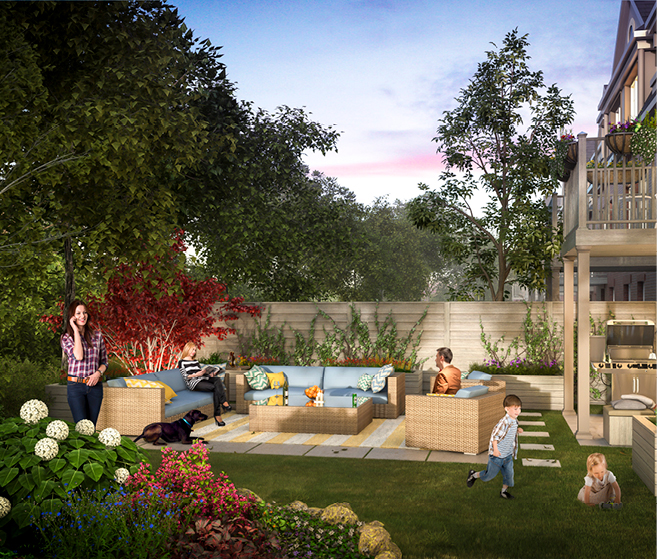 Rendering of Tyandaga Heights on the Park suite backyard.