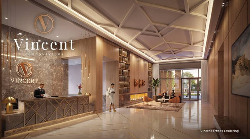 Rendering of Vincent Condos lobby