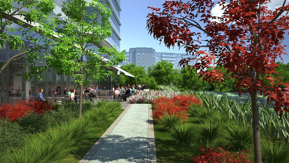 Rendering of 4050 Yonge Street Condos outdoor seating in lush green environment.