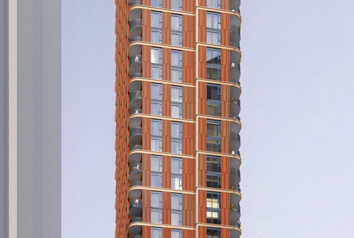 Rendering of 510 Yonge Condos exterior middle.