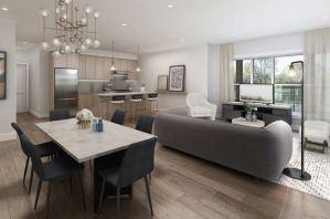 Rendering of Lackner Ridge Condos suite living area open-concept.