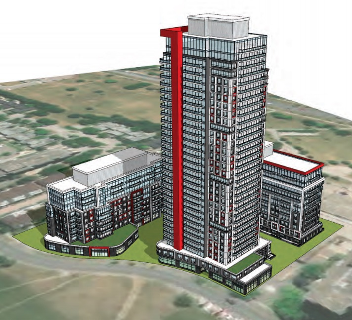 Exterior aerial rendering of 41 Four Winds Drive Condos