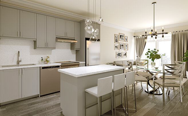 Rendering of Montebello Condos interior kitchen style light