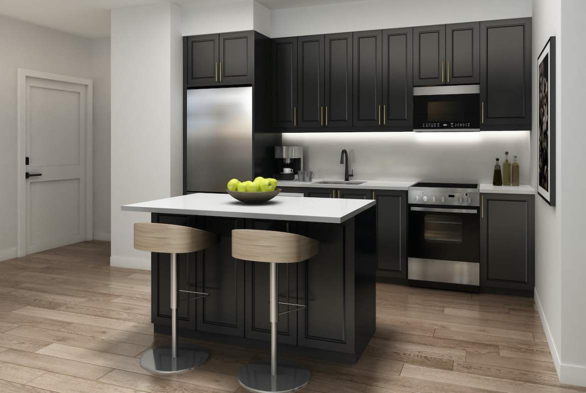 Rendering of Nuvo 2 suite kitchen dark