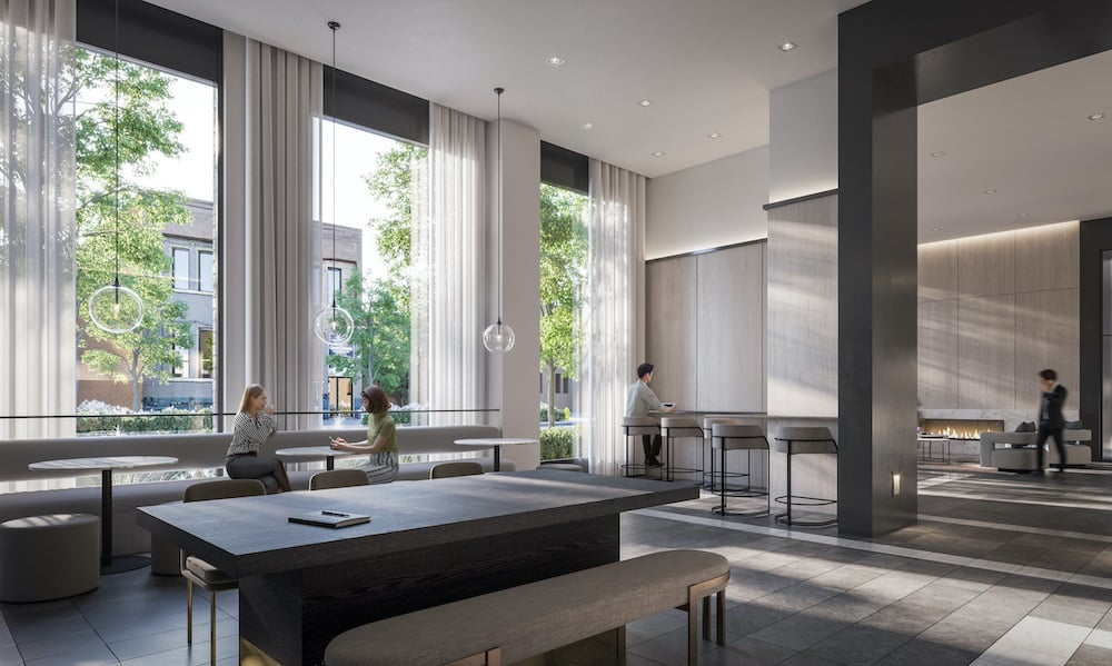 Rendering of 1 Jarvis Condos co-working lounge