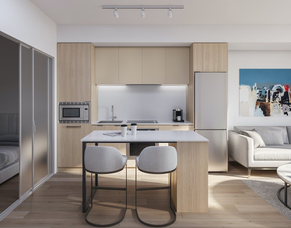 Rendering of 1 Jarvis Condos suite kitchen with island neige