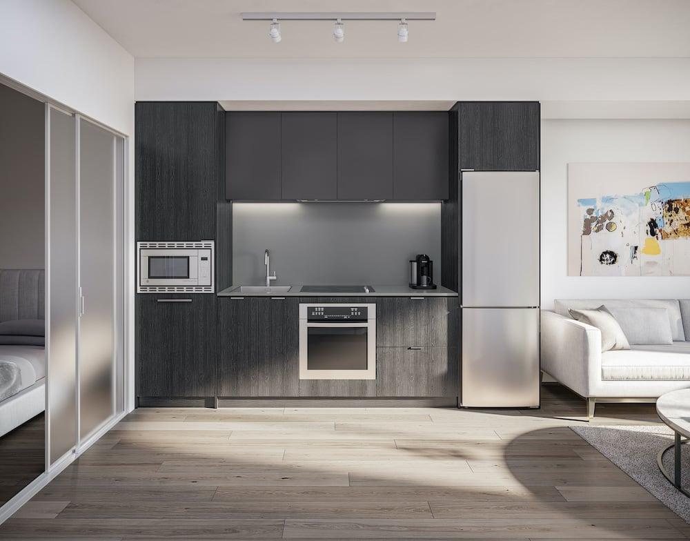 Rendering of 1 Jarvis Condos suite kitchen ombre