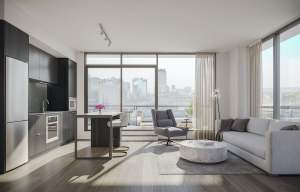 Rendering of 1 Jarvis Condos suite living and dining ombre