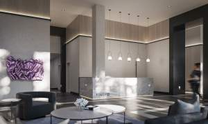 Rendering of 1 Jarvis Condos lobby with concierge