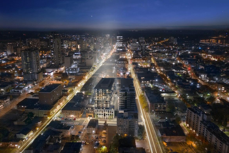 Rendering of 1 Jarvis Condos aerial view at night