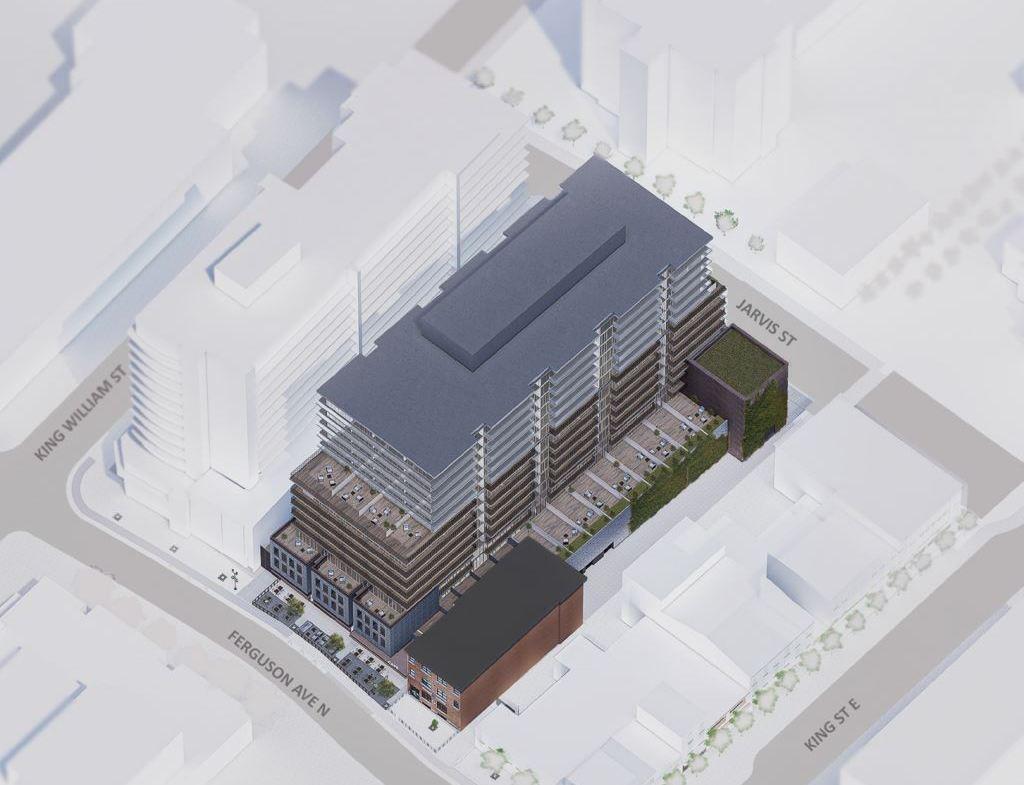 Rendering of 1 Jarvis Street Condos aerial angled