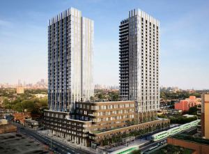 Rendering of 1319 Bloor Street West Condos exterior 2 tower view