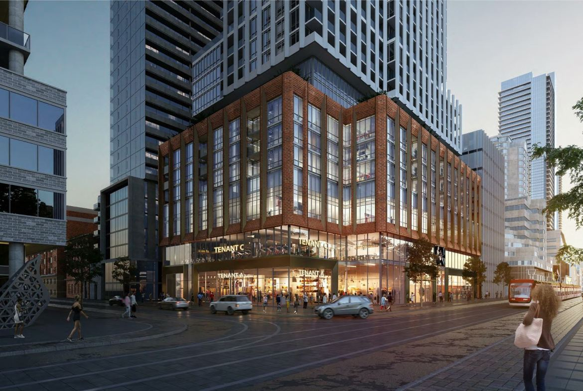Rendering of 400 King West Condos exterior podium at night