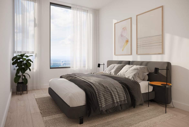 Rendering of Realm Condos suite bedroom