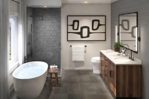 Interior rendering of Caledon Trails suite bathroom