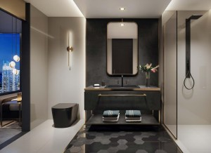 Rendering of E11even Hotel and Residences suite interior bathroom